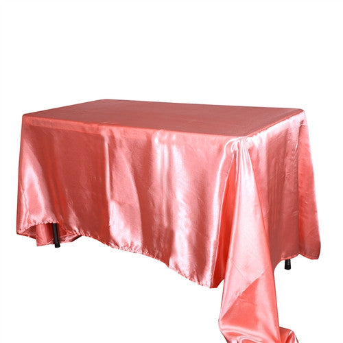 Coral 60 Inch x 126 Inch Rectangular Satin Tablecloths- Ribbons Cheap