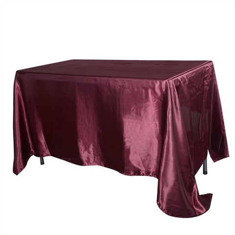 Burgundy 90 Inch x 132 Inch Rectangular Satin Tablecloths- Ribbons Cheap