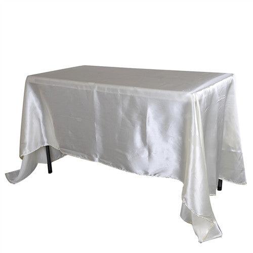 Ivory 90 Inch x 132 Inch Rectangular Satin Tablecloths- Ribbons Cheap