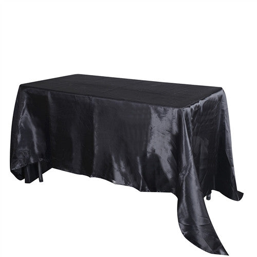 Black 90 Inch x 132 Inch Rectangular Satin Tablecloths- Ribbons Cheap