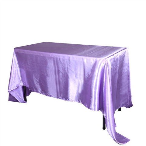Lavender 90 Inch x 132 Inch Rectangular Satin Tablecloths- Ribbons Cheap