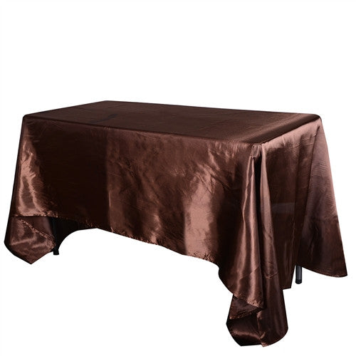 Chocolate Brown 90 Inch x 132 Inch Rectangular Satin Tablecloths- Ribbons Cheap