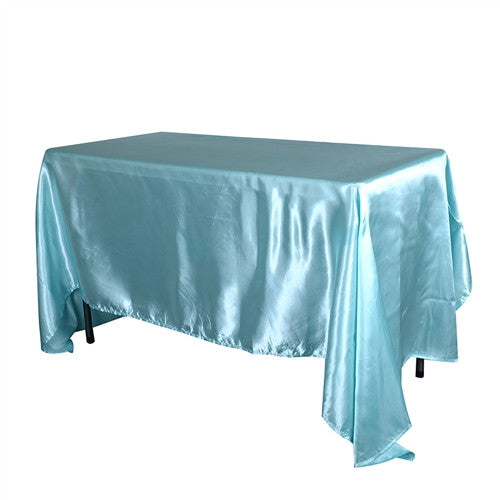 Aqua Blue 90 Inch x 132 Inch Rectangular Satin Tablecloths- Ribbons Cheap
