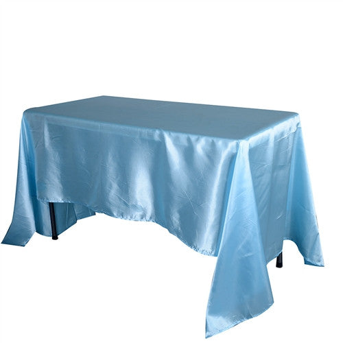 Light Blue 90 Inch x 156 Inch Rectangular Satin Tablecloths- Ribbons Cheap