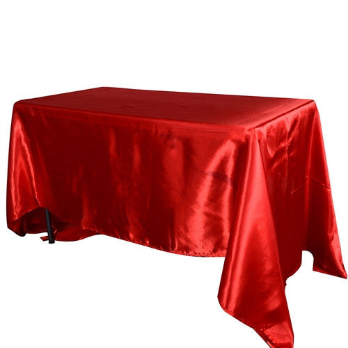 Red 90 Inch x 156 Inch Rectangular Satin Tablecloths- Ribbons Cheap