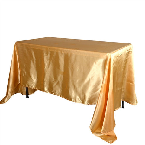 Gold 90 Inch x 156 Inch Rectangular Satin Tablecloths- Ribbons Cheap