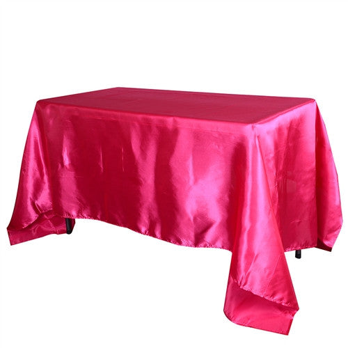 Fuchsia 90 Inch x 156 Inch Rectangular Satin Tablecloths- Ribbons Cheap