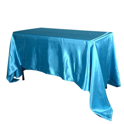 Turquoise 90 Inch x 156 Inch Rectangular Satin Tablecloths- Ribbons Cheap