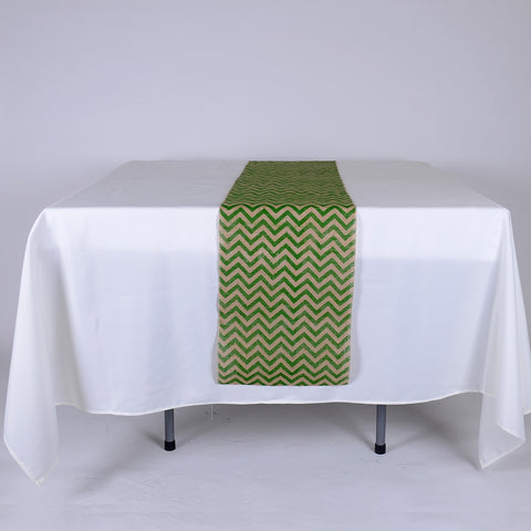 14 inch x 108 inches Green Burlap Table Runners