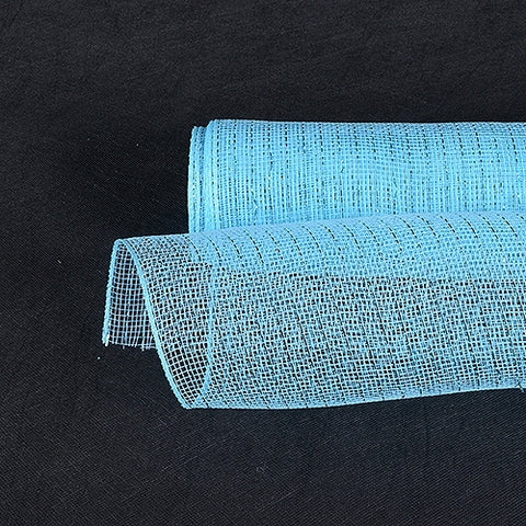 Light Blue - 10 Inch x 10 Yards Deco Mesh Wrap Metallic Stripes