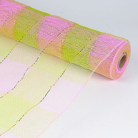 Floral Mesh Wrap Two Color Design Pink Green ( 21 Inch x 10 Yards ) -