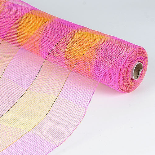 Floral Mesh Wrap Two Color Design fuchsia and yellow ( 21 Inch x 10 Yards ) -