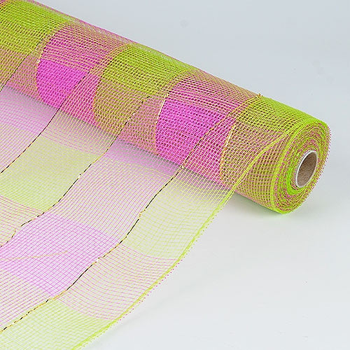 Floral Mesh Wrap Two Color Design Fuchsia Green ( 21 Inch x 10 Yards ) -