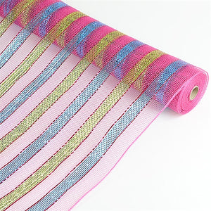 Multicolor Metallic Deco Mesh Wrap Fuchsia with Turquoise ( 21 Inch x 10 Yards ) -