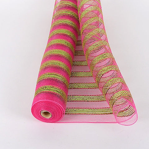 Multicolor Metallic Deco Mesh Wrap Fuchsia Green ( 21 Inch x 10 Yards ) -