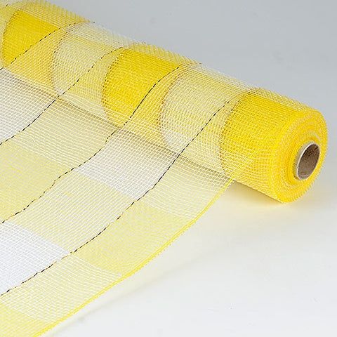 Christmas Mesh Wraps Yellow White ( 21 Inch x 10 Yards ) -