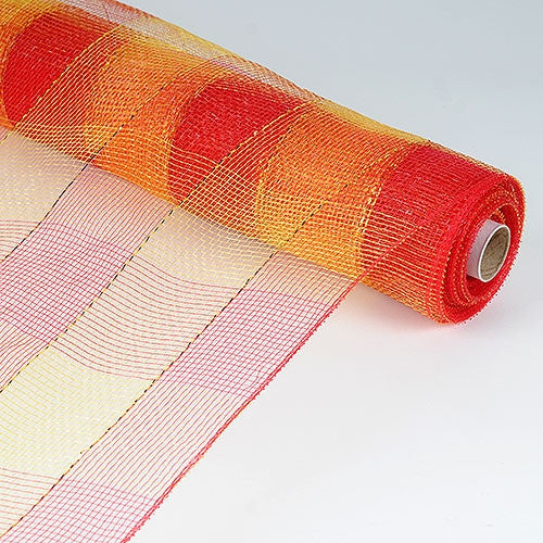 Christmas Mesh Wraps Red with Gold ( 21 Inch x 10 Yards ) -