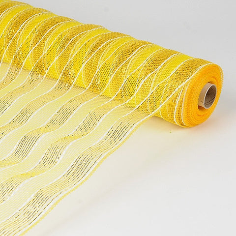Poly Deco Mesh Wrap with Laser Mono Stripe Yellow ( 21 Inch x 10 Yards ) -