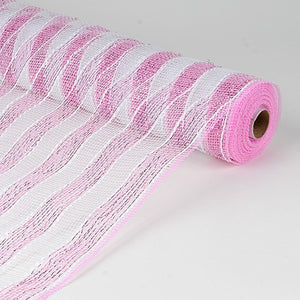 Poly Deco Mesh Wrap with Laser Mono Stripe Pink with White ( 21 Inch x 10 Yards ) -