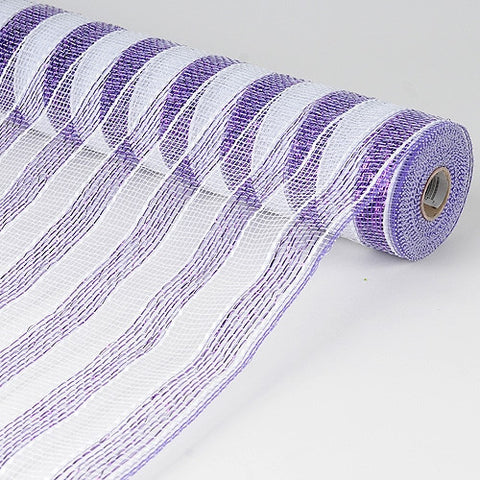 Poly Deco Mesh Wrap with Laser Mono Stripe White with Purple ( 21 Inch x 10 Yards ) -