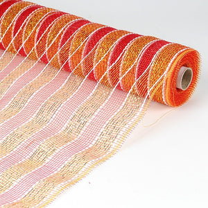 Poly Deco Mesh Wrap with Laser Mono Stripe Red with Gold ( 21 Inch x 10 Yards ) -