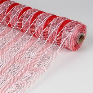 Poly Deco Mesh Wrap with Laser Mono Stripe Red with Silver ( 21 Inch x 10 Yards ) -