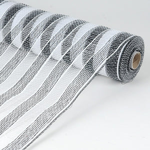 Poly Deco Mesh Wrap with Laser Mono Stripe Black White ( 21 Inch x 10 Yards ) -
