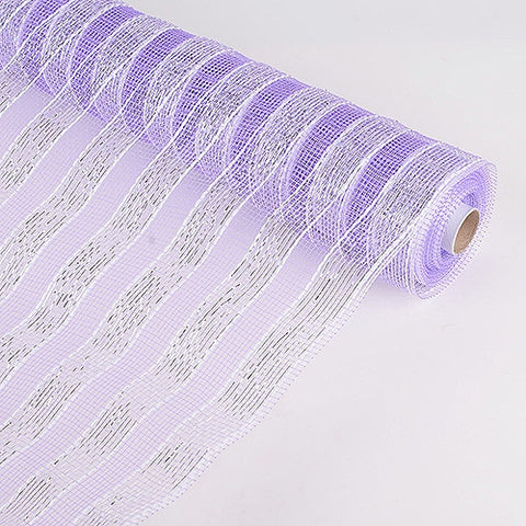 Poly Deco Mesh Wrap with Laser Mono Stripe Lavender ( 21 Inch x 10 Yards ) -