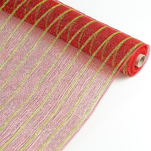 Holiday Floral Mesh Wraps Red with Apple Green Lines ( 21 Inch x 10 Yards ) -