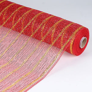 Holiday Floral Mesh Wraps Red Gold ( 21 Inch x 10 Yards ) -