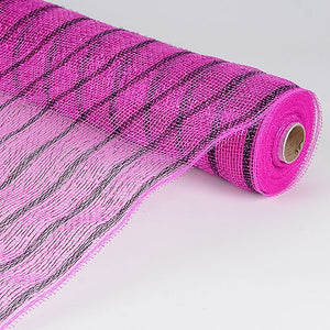 Holiday Floral Mesh Wraps Fuchsia Black ( 21 Inch x 10 Yards ) -