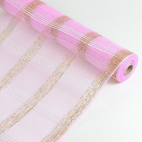 Deco Floral Mesh Check Metallic Stripe Pink ( 21 Inch x 10 Yards ) -