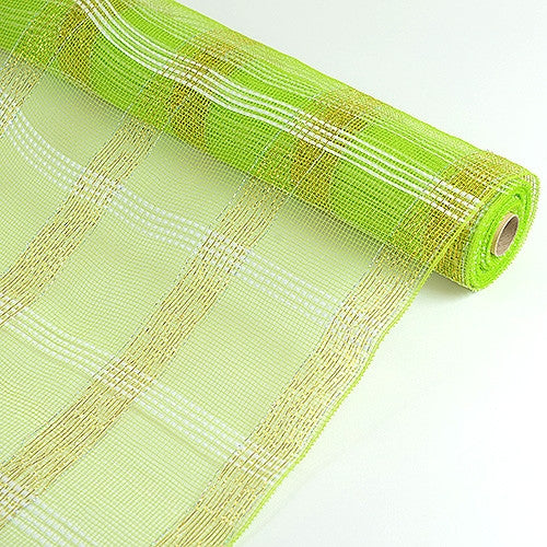 Deco Floral Mesh Check Metallic Stripe Apple Green ( 21 Inch x 10 Yards ) -