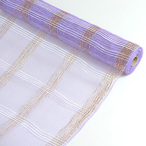 Deco Floral Mesh Check Metallic Stripe Lavender ( 21 Inch x 10 Yards ) -