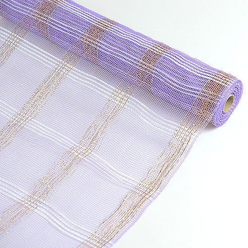 Deco Floral Mesh Check Metallic Stripe Lavender ( 21 Inch x 10 Yards )