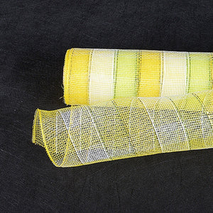 Poly Deco Mesh Wrap with Laser Mono Stripe Citrus ( 21 Inch x 10 Yards ) -