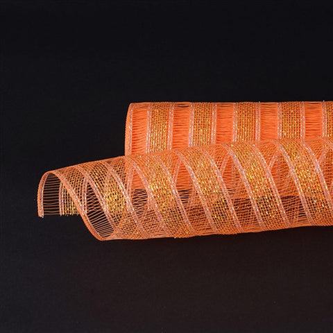 Orange Deco Mesh Eyelash Metallic Stripes -