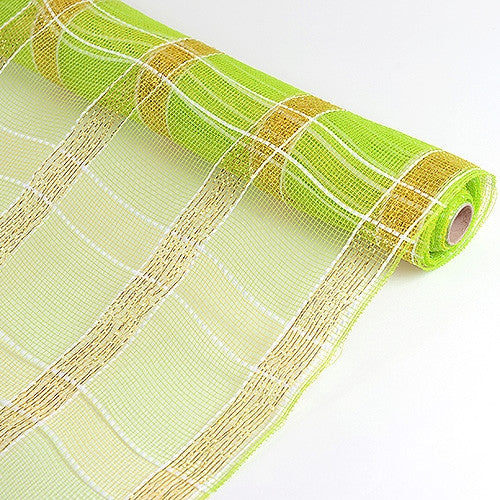 Poly Deco Xmas Check Mesh Metallic Stripe Apple Green with Gold ( 21 Inch x 10 Yards ) -