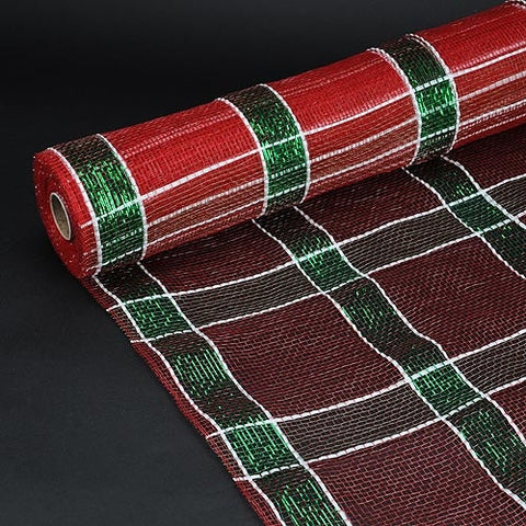 Poly Deco Xmas Check Mesh Metallic Stripe Red White Green ( 21 Inch x 10 Yards ) -