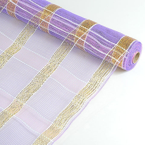 Poly Deco Xmas Check Mesh Metallic Stripe Lavender with Gold ( 21 Inch x 10 Yards ) -