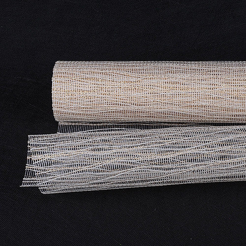 Metallic Twine Mesh Wrap Ivory ( 21 Inch x 6 Yards ) -