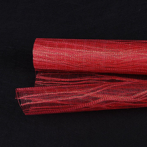 Metallic Twine Mesh Wrap Red ( 21 Inch x 6 Yards ) -