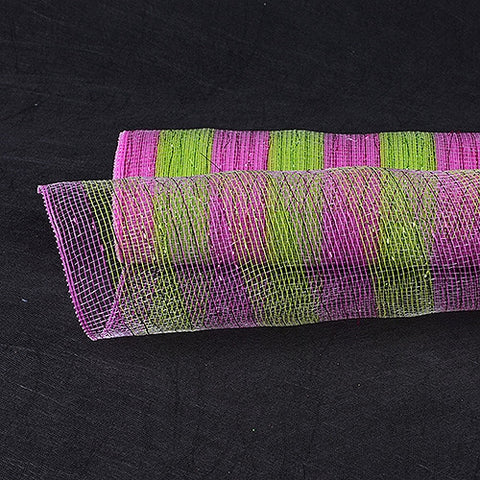 Poly Deco Mesh Wrap with Laser Mono Stripe Apple Green with Fuchsia ( 21 Inch x 10 Yards ) -