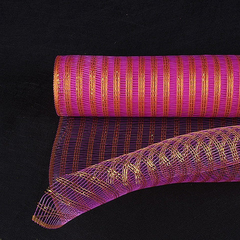 Metallic Line Mesh Wrap Fuchsia with Gold ( 21 Inch x 10 Yards ) -