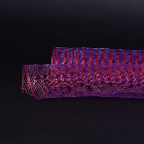Metallic Line Mesh Wrap Purple with Red ( 21 Inch x 10 Yards ) -