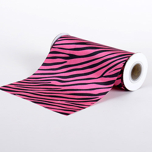 Animal Printed Satin Spool Hot Pink ( W: 6 inch | L: 10 Yards )