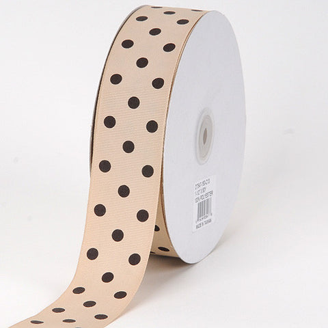 Grosgrain Ribbon Polka Dot Tan with Brown Dots ( W: 3/8 inch | L: 50 Yards ) -