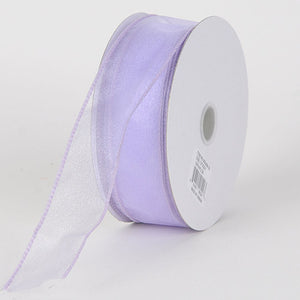 Organza Ribbon Thick Wire Edge 25 Yards Lavender ( W: 1-1/2 inch | L: 25 Yards ) -