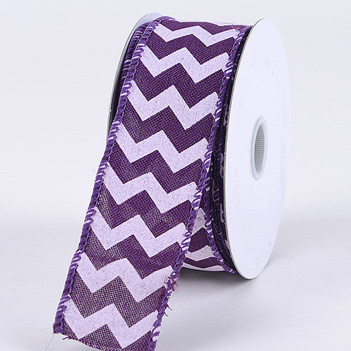 Chevron Canvas Wired Edge Purple ( 2-1/2 inch | 10 Yards ) -