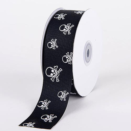 Grosgrain Ribbon Skull Design Black with Clear White Skull ( 7/8 inch | 25 Yards ) -